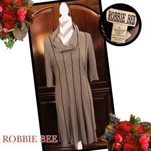 ROBBIE BEE B&W Textured Stripe Cowl Neck Dress